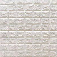 3д панель Матовий Білий Цегла (самоклеючі 3d для стін декоративні панелі з ПВХ матові) 700x770x5 мм