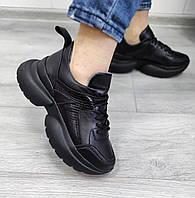 Чорні шкіряні кросівки жіночі, фото 1