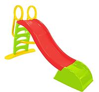 Детская скатная пластиковая горка для катания игровая горка пластмассовая на дачу Mochtoys 180 см красная