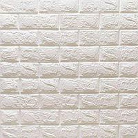 3Д-панель 10 шт. Матовий Білий Цегла (декоративні панелі для стін під цеглу самоклейка) 700x770x7 мм