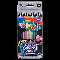 Олівці 10 кольорів круглі металік, Colorino