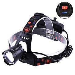 Налобный фонарик Bailong BL-218-P50 светодиодный аккумуляторний 3*18650 ZOOM