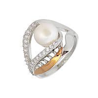 Серебреное кольцо с золотой вставкой и жемчугом