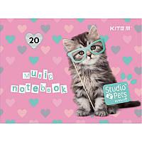 Зошит для нот А5 20арк скоба Studio Pets KITE (10)