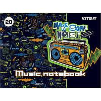 Зошит для нот А5 20арк скоба Make some noise KITE (20)