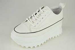 Кросівки на високій платформі Berkonty 77028 37 Білий шкіра