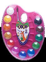 Фарби акварельні 12 кольорів на палітрі, натуральний пензель, рожева, Zibi