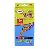 Олівці 12 кольорів тригранні Comfort Grip VGR
