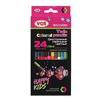 Олівці двухсторонні 12 шт 24 кольори Happy Kids VGR