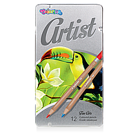 Олівці 12 кольорів Artist в метал коробці Colorino