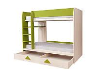 Кровать двухъярусная с выдвижным ящиком LOZ1S/90P Strzalka 80х180 BRW дуб светлый belluno/беж шампанский/зелен