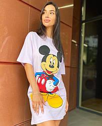 Женская летняя туника с мультяшным принтом