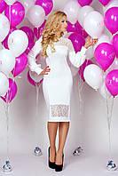 Платье 889 молочное нежное с гипюровыми вставками облегающего кроя с пышным рукавом с манжетом