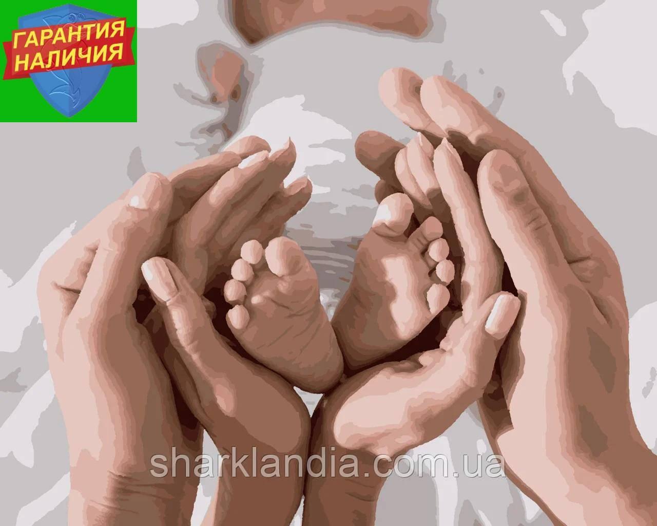 Картина за номерами Маленькі ніжки немовляти в долонях 40*50см Artissimo Розмальовки Сім'я Мама Дитина
