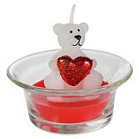 """Свеча в стакане """"Мишка с сердцем"""" белый"""