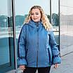 Куртки батал жіночі весна-осінь великі розміри 50-60 срібло, фото 5
