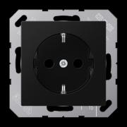 Розетка з заземленням, чорний матовий, Eco Profi Deco/Standart