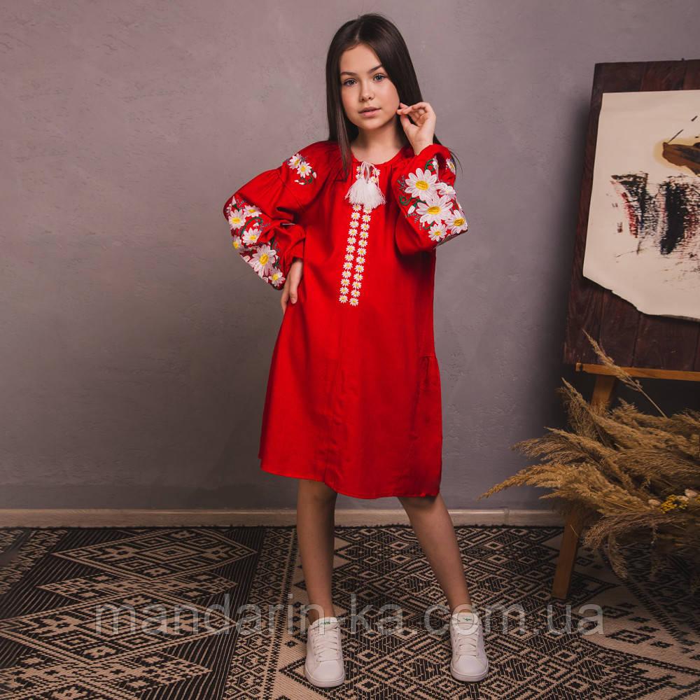 Вишита сукня для дівчинки квіткове на червоному льоні
