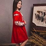 Вишита сукня для дівчинки квіткове на червоному льоні, фото 3