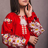Вишита сукня для дівчинки квіткове на червоному льоні, фото 2