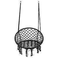 Підвісне крісло-гойдалка для дачі без подушки Крісло гамак підвісне плетене World Sport Чорний (H005)