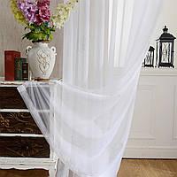 Турецкий тюль шифон белого цвета, однотонный. Тюль для спальни, зала, гостиной, кухни, детской