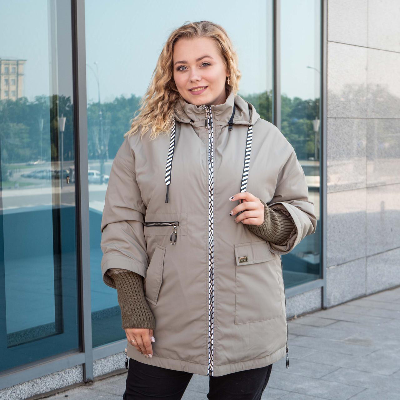 Куртки батал жіночі весна-осінь великі розміри 48-62 фісташковий
