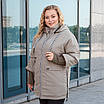 Куртки батал жіночі весна-осінь великі розміри 48-62 фісташковий, фото 3