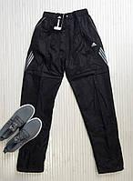 Спортивные штаны мужские прямые, плащевка, черный