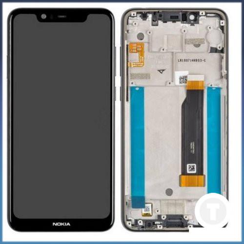 Дисплей (екран) для Nokia 5.1 Dual Sim (TA-1075) з сенсором / тачскріном (Модуль) чорний з рамкою (передньою панеллю) оригінал