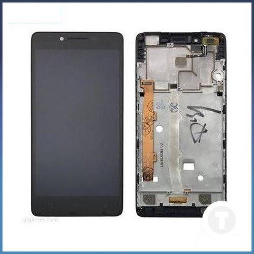 Дисплей (екран) для Lenovo A6010 з сенсором / тачскріном (Модуль) чорний з рамкою (передньою панеллю)