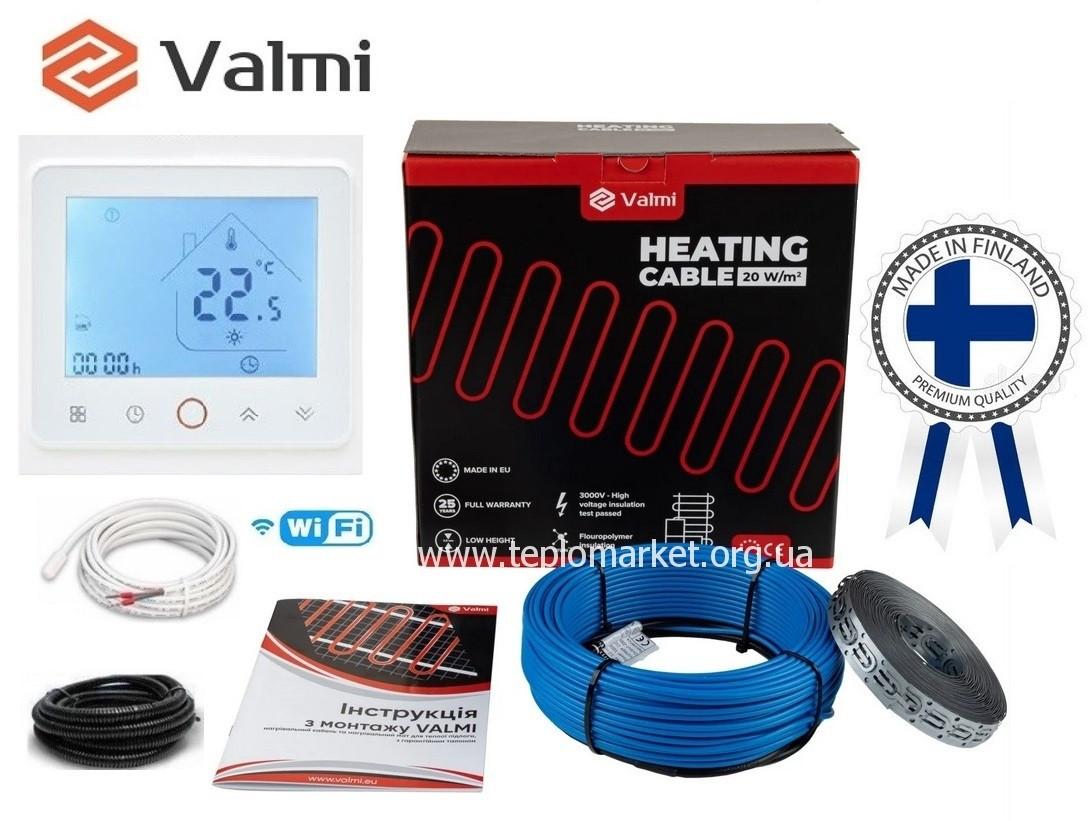 Тепла кабельна підлога Valmi  11м²-13,8м² /2200В(110м) тонкий кабель 20 Вт/м з терморегулятором TWE02 Wi-Fi