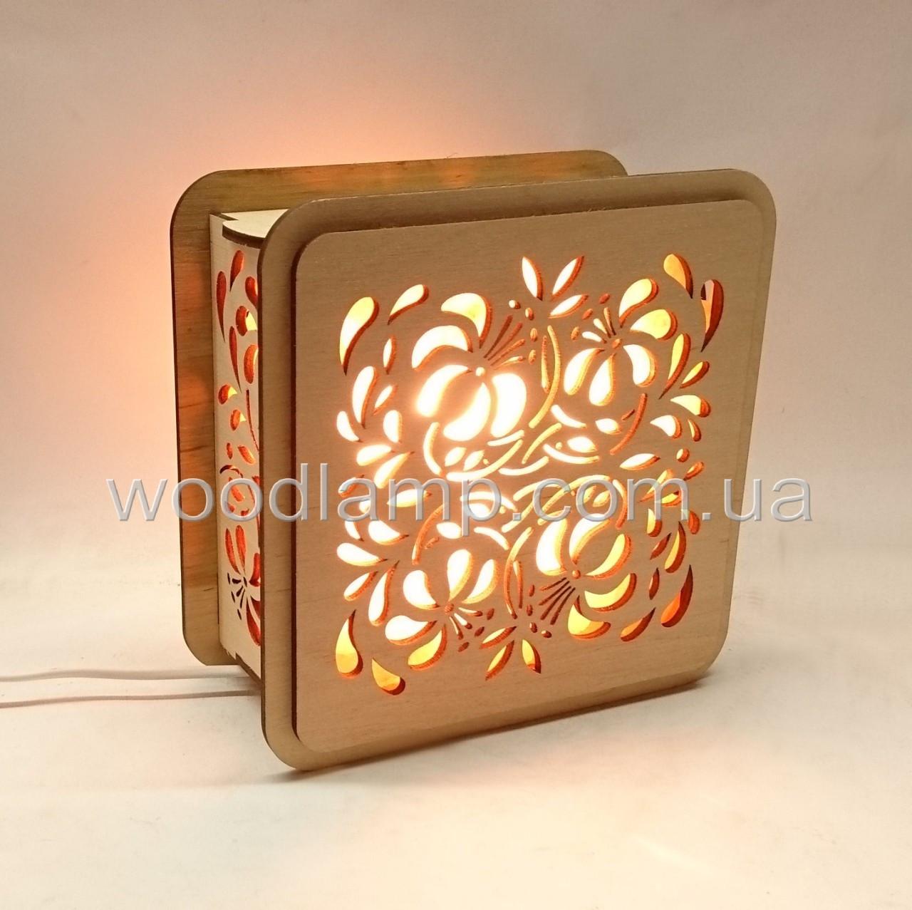 Соляной светильник Квадратный деревянный Магнолии