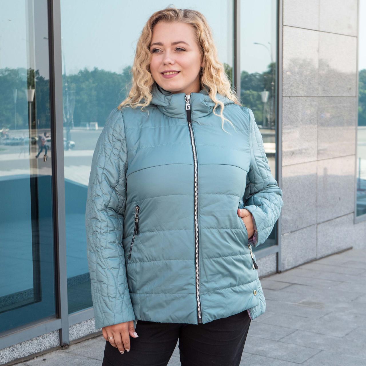 Куртки батал женские весна-осень  большие размеры   50-60  бирюзовый