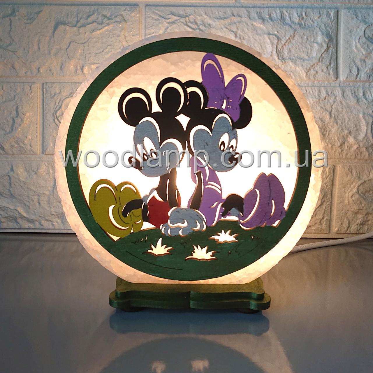 Соляная лампа круглая Микки М+М цветной