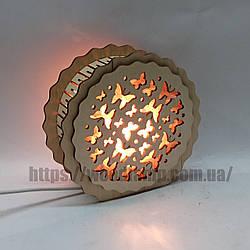 Соляной светильник деревянный Круглый Бабочки