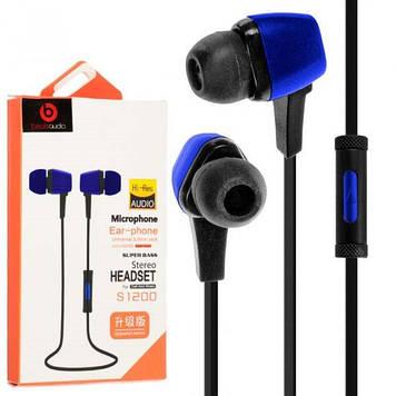 Навушники вакуумні Beats S1200 (гарнітура) blue+мікрофон