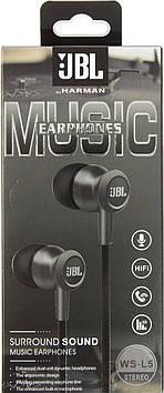 Навушники вакуумні JBL WS-L5 (гарнітура) black+мікрофон
