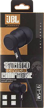 Навушники вакуумні JBL WS-L6 (гарнітура) black+мікрофон