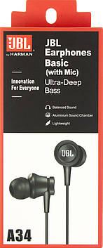 Навушники вакуумні JBL A34 (гарнітура) black+мікрофон