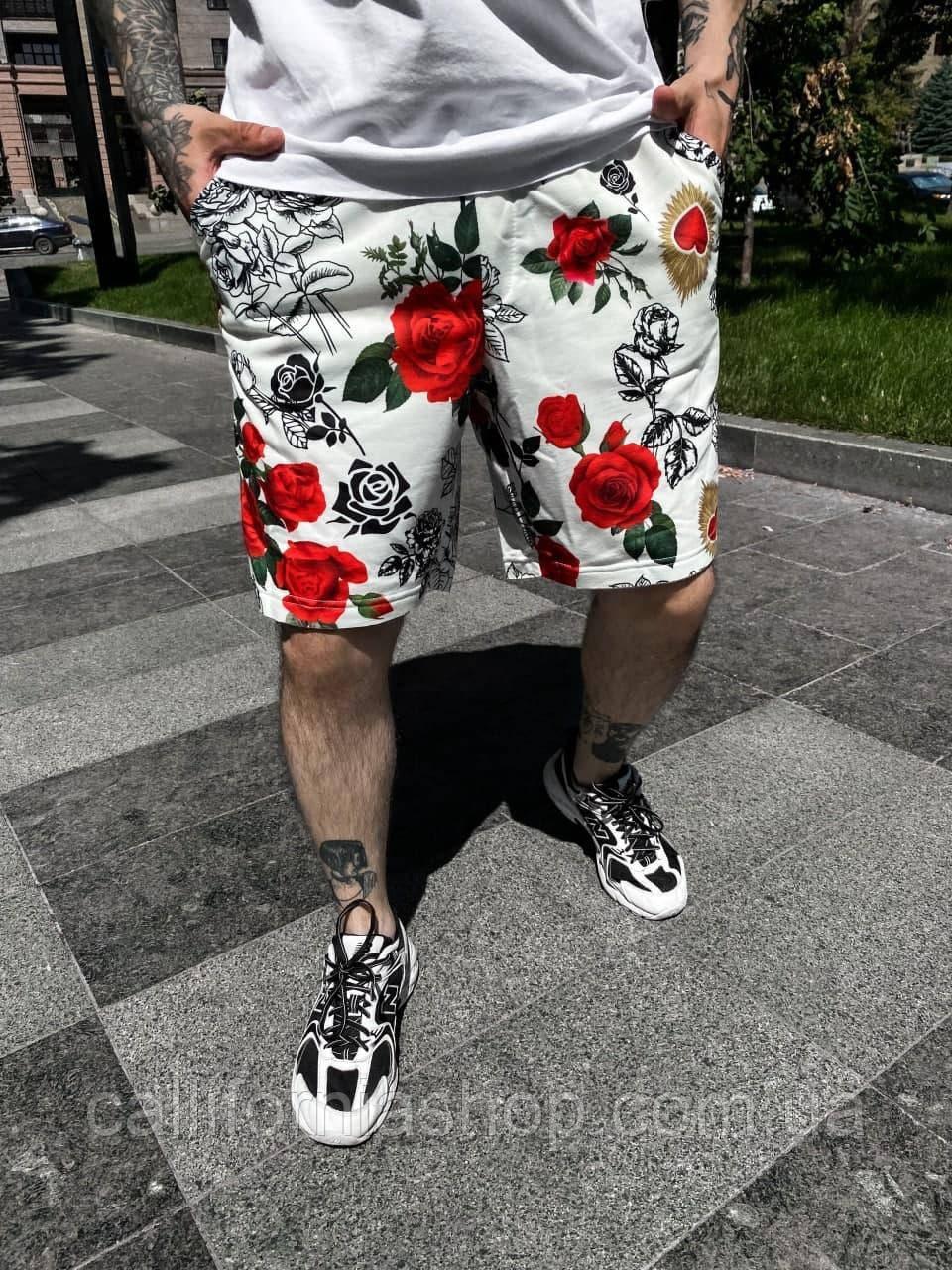 Шорты мужские белые с розами тканевые летние