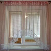 """Тюль арка на кухню з мереживом фатин рожева 3 м """"Анна"""", фото 1"""