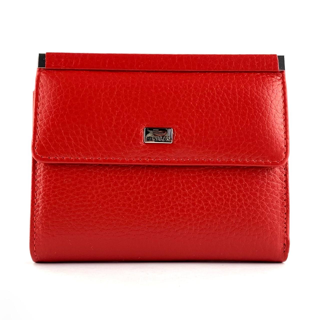 Маленький жіночий гаманець з натуральної шкіри Desisan 105-4 червоний
