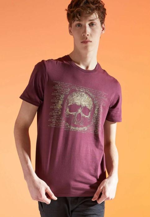 Бордовая мужская футболка Defactо/Дефакто с принтом-череп