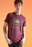Бордовая мужская футболка Defactо/Дефакто с принтом-череп, фото 1