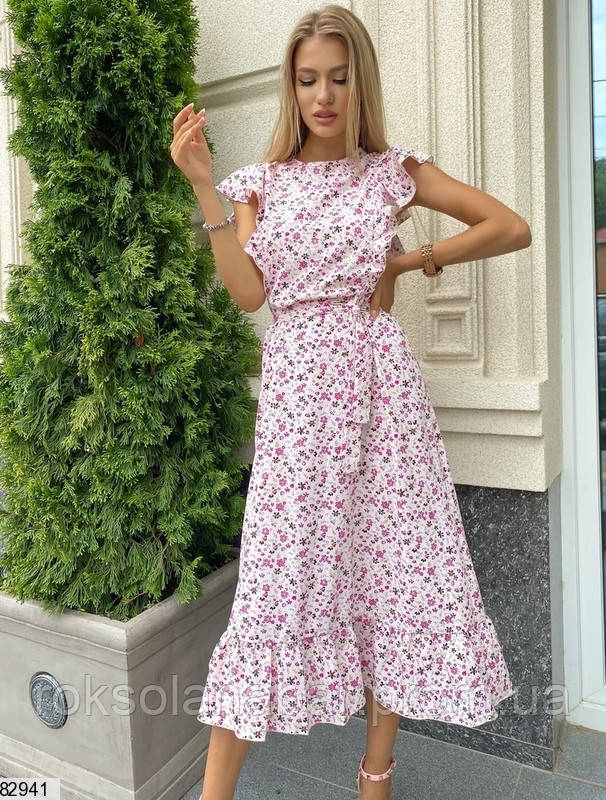 Летнее платье миди в розовые цветочки