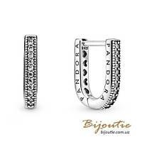Срібні Сережки-хупі Пандора U-ФОРМИ #299488C01