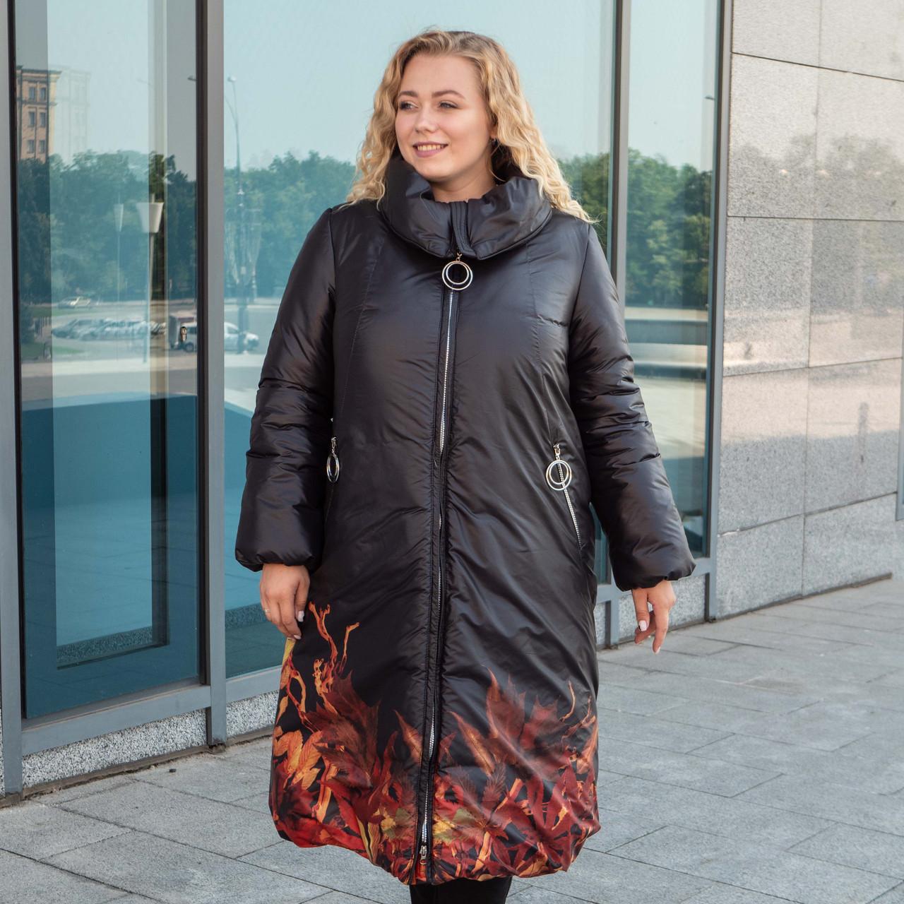 Пальто зимние женские  больших размеров   48-56 черный