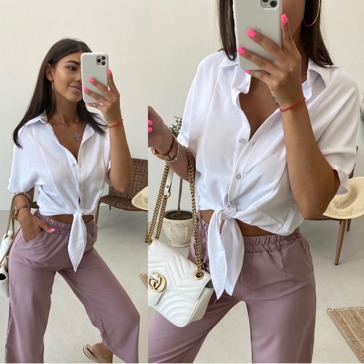 Летняя женская укороченная рубашка на завязках