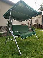 Качели садовые с навесом Zano Mari (зеленый) Трехместные До 220 кг Большие Навесные Для дома и на дачу